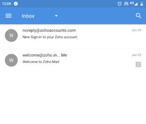 Zoho mail mobile Inbox