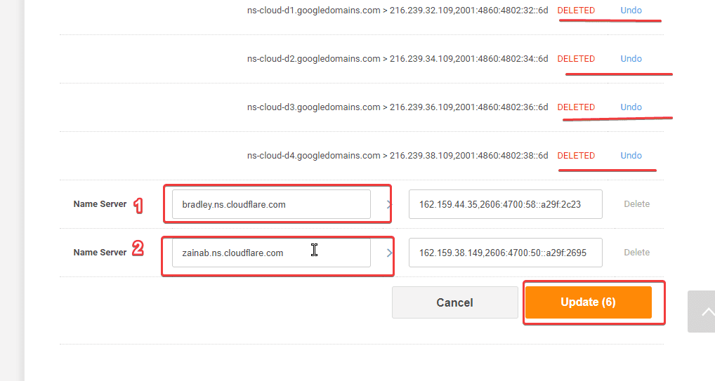 adding cloudflare nameservers in registrar