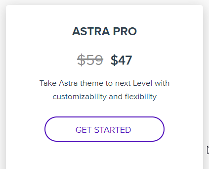 Pricing of Astra Theme