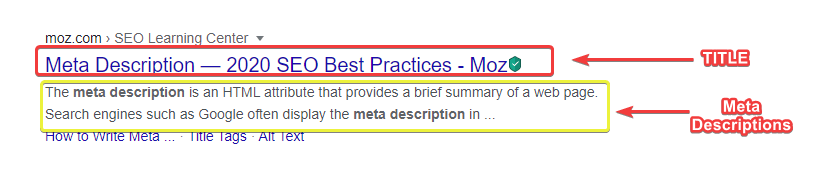 Add Meta Descriptions for Brief Summary of your Search Quarry