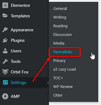 Click Settings and Permalinks for Changing WordPress URL structure.