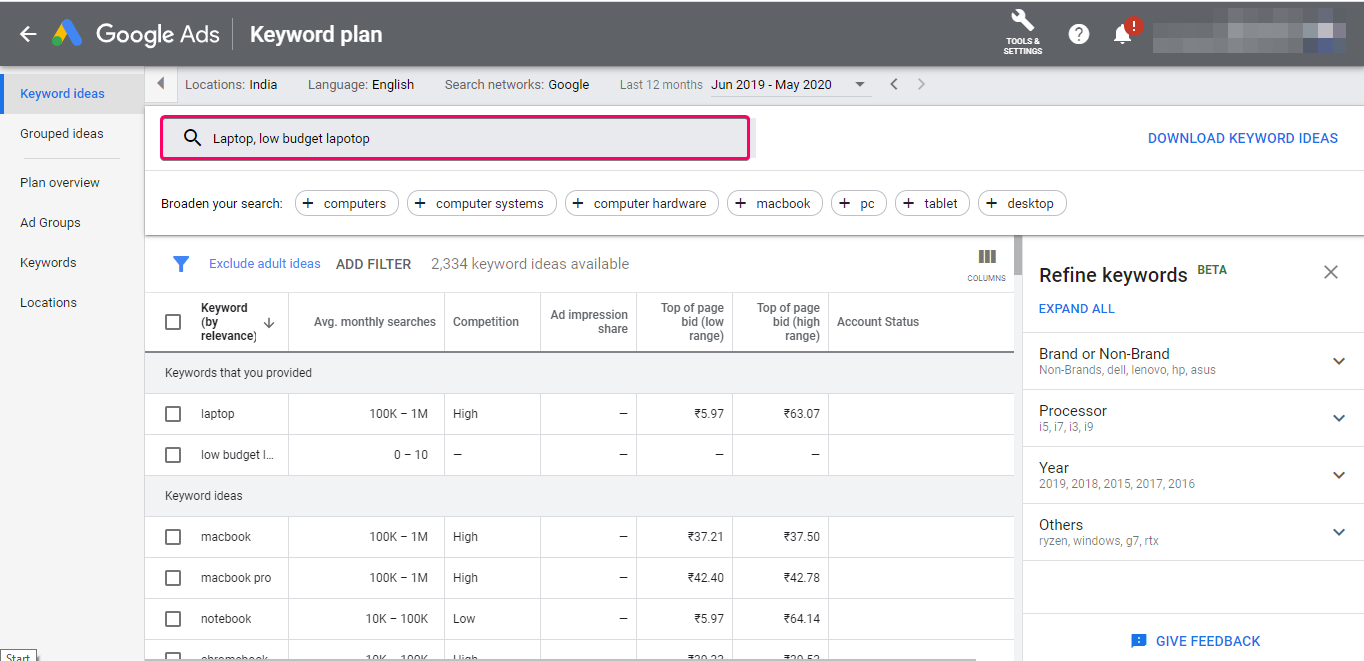 Google Adwords Keyword Planner, There you can research your keywords, cpc, volume, etc