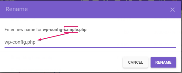 renaming wp-config-sample.php to wp-config.php