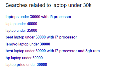 """Related keyword """"laptop under 30k"""" showing google search"""