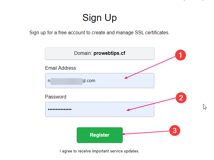 Sign up for sslforfree.com getting free ssl certificate