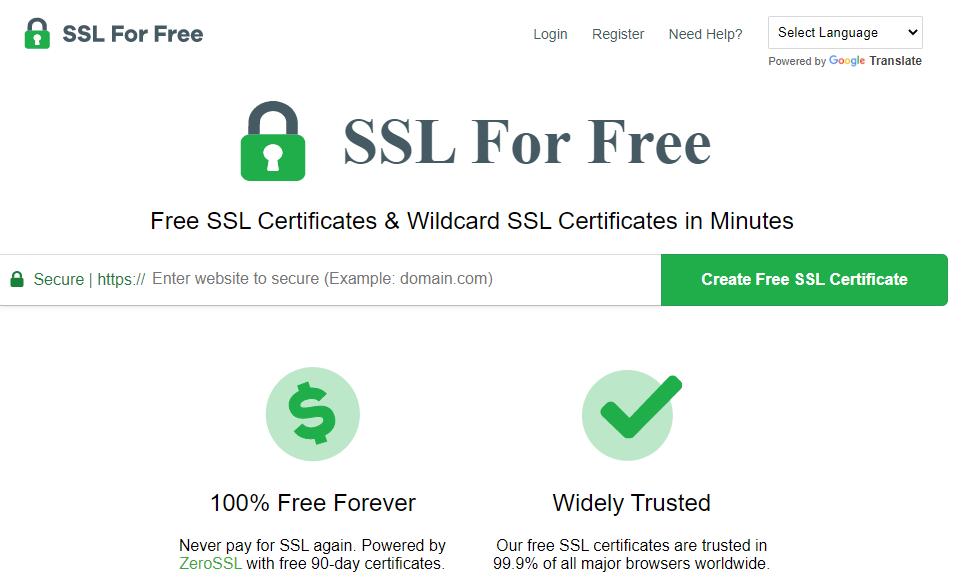 sslforfree.com for ssl certificate