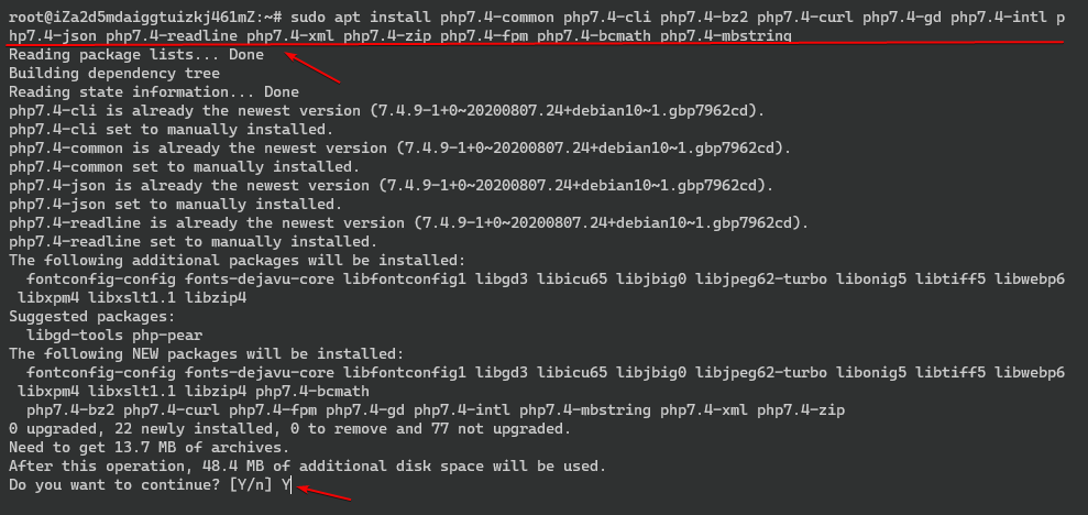 installing Apace and latest PHP modules.