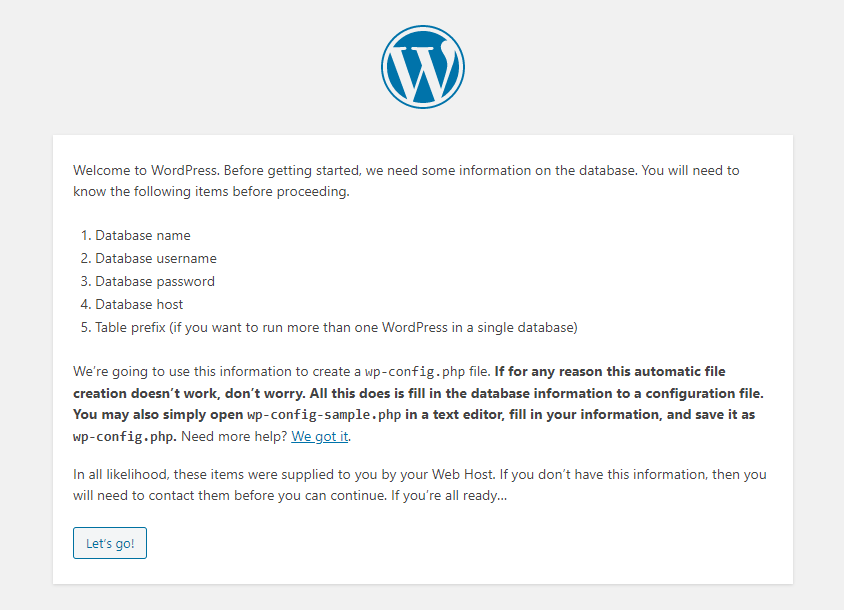 configure your database with your WordPress CMS
