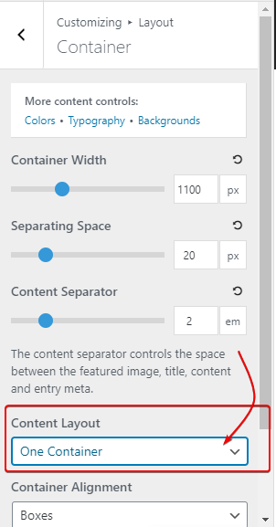 Changing Content Layout of GeneratePress