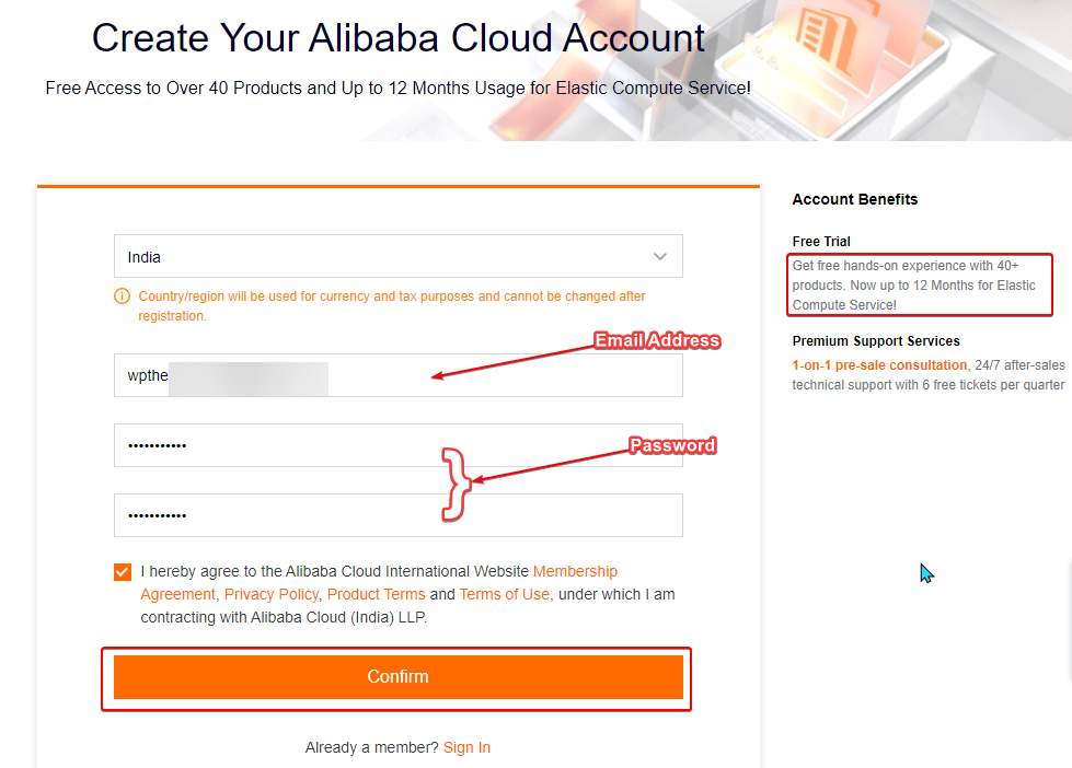 Create Account on Alibaba Cloud, Fill your Email and  Password for Sign Up process
