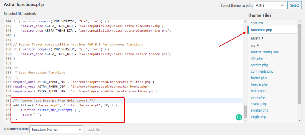 Disable Post Excerpt by editing Astra theme function