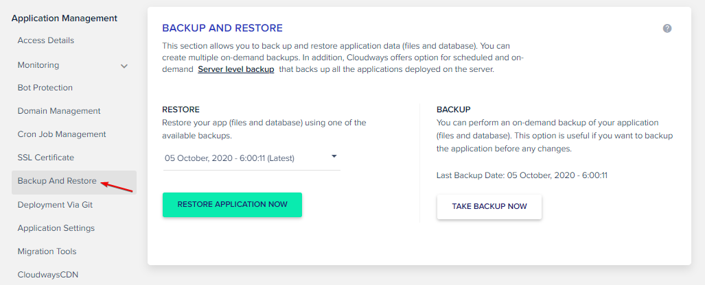 Application Level Backup on Cloudways