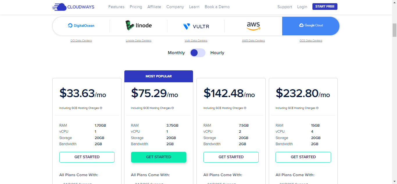 Google Cloud Pricing on Cloudways