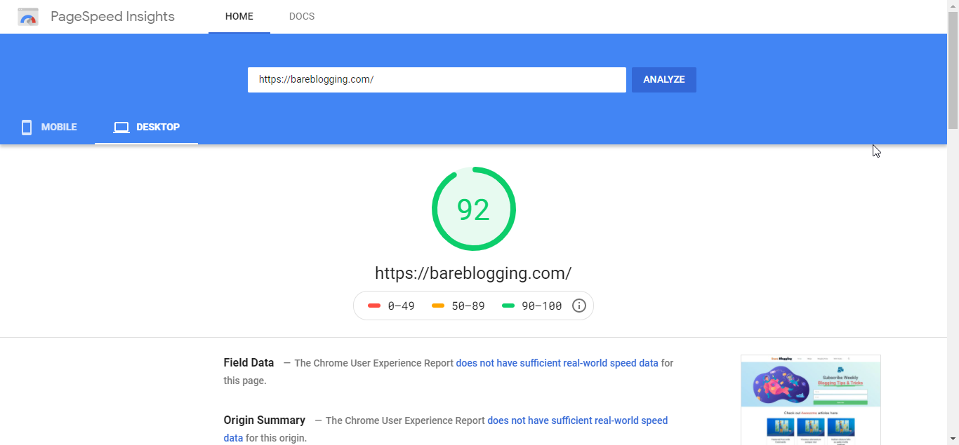 Google PageSpeed Insight Final report