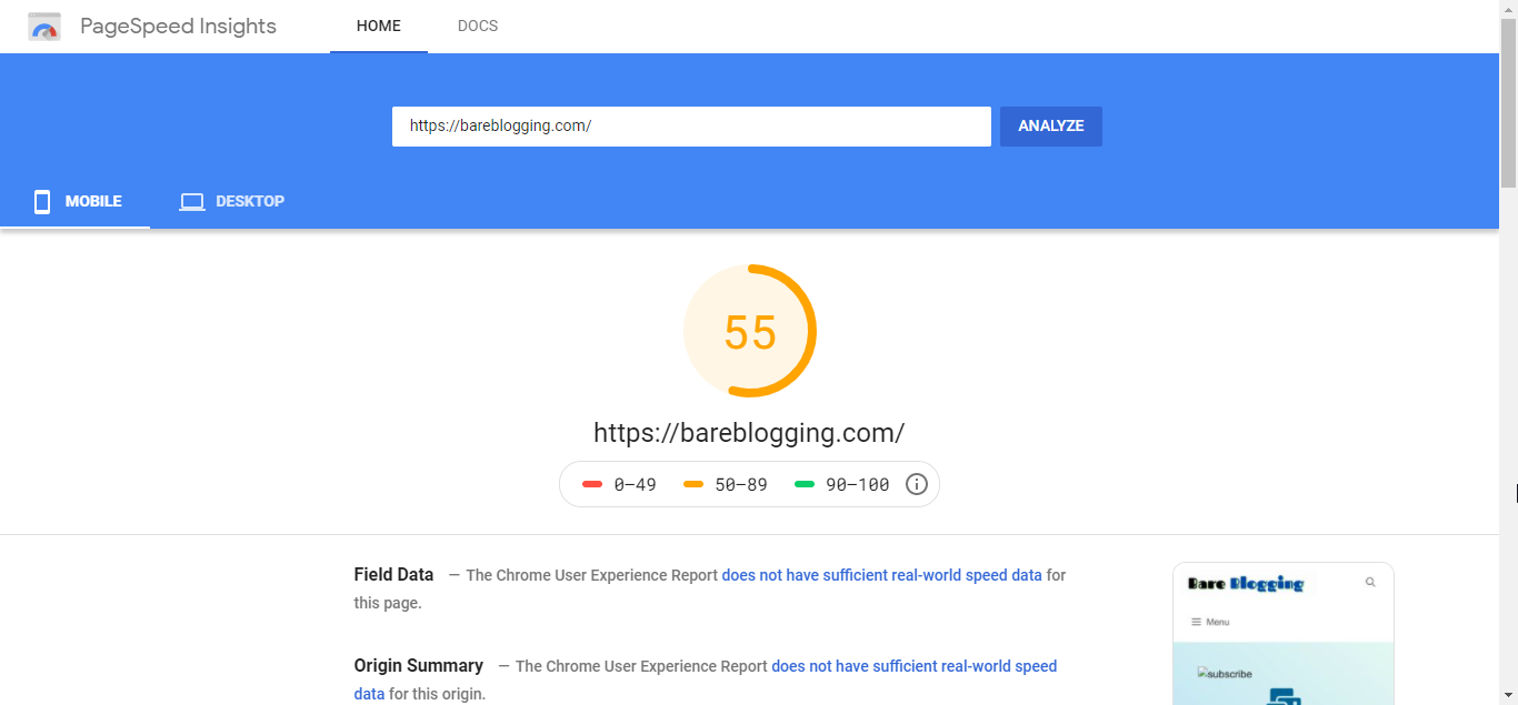 Google PageSpeed Insight report before optimization