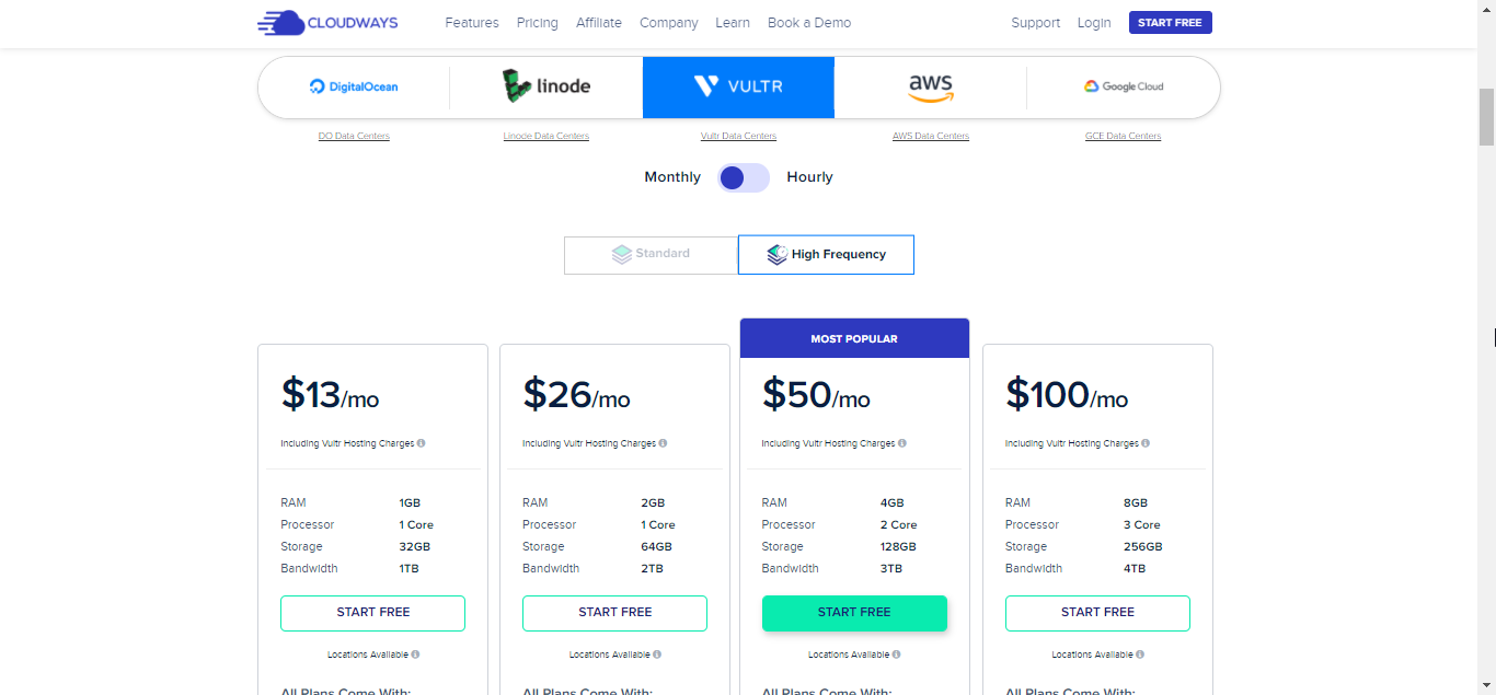 Vultr High Frequency Pricing on Cloudways