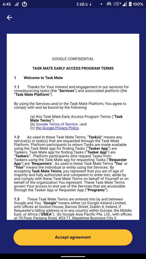 Google Task Mate Accept Agreement