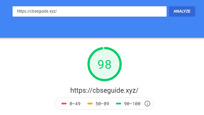 accuweb Pagespeed test result