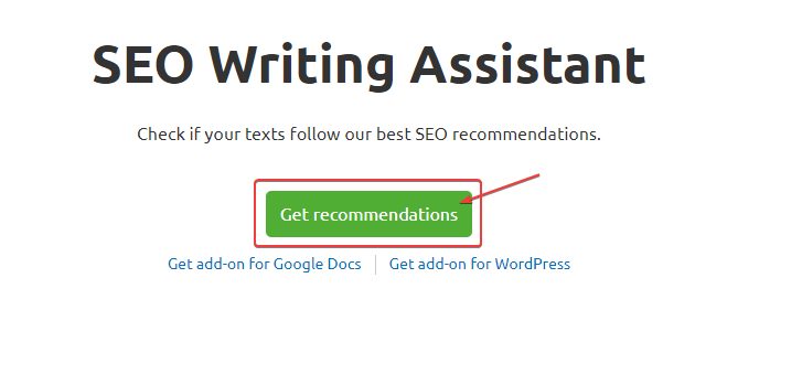 SEO Writing Assistant Start Writing