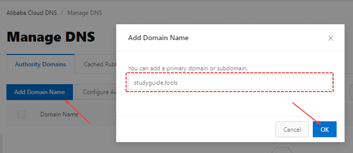 Add Domain Name To Alibaba Cloud DNS