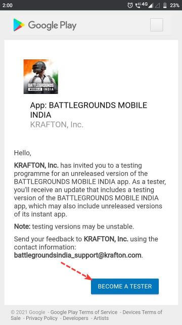 Battlegrounds Mobile India Become A Tester