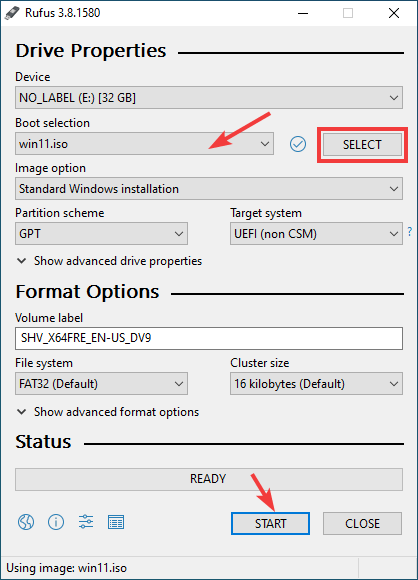 Open Rufus and select ISO image